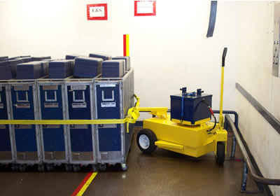 Cart Mule airline cart easily fits into tight elevator spaces.