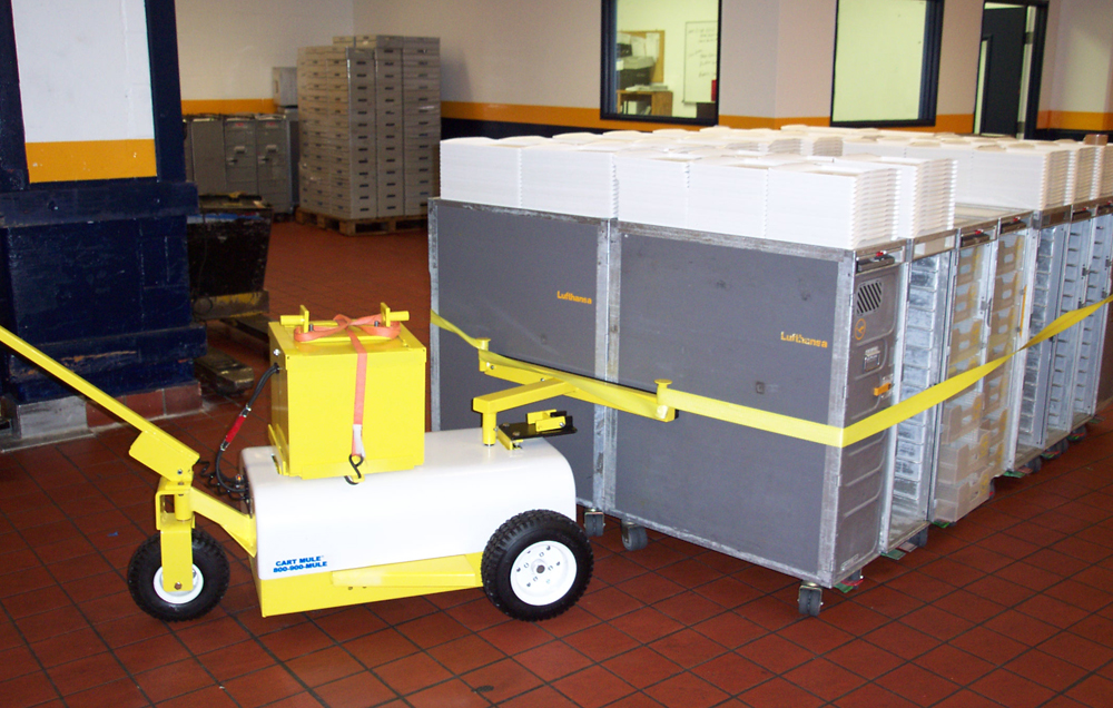 Cart Mule 24hr unit moving kitchen food carts in the catering industry