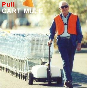 Cart Mule shopping cart mover pulls the load allowing any age to push or pull effortlessly.